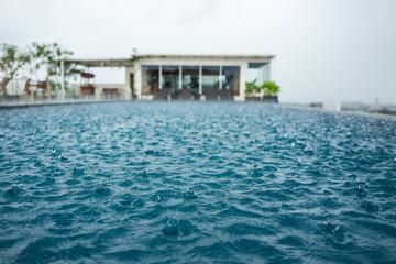 Pool in Yogyakarta during rain