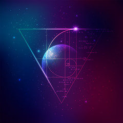 concept of applied astronomy, graphic of golden ratio with outer space background