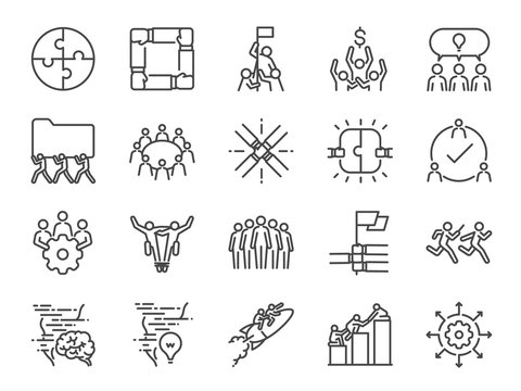 Teamwork icon set. Included the icons as company, collaboration, participation, success, together, business, unity, people and more