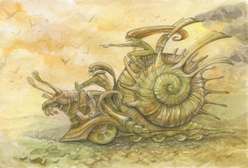 Picture with echoes of steampunk. racing snails. two elves run on giant battle metal snail) watercolor