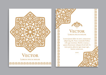 Gold vintage greeting card on a white background. Luxury ornament template. Mandala. Great for invitation, flyer, menu, brochure, postcard, background, wallpaper, decoration, or any desired idea