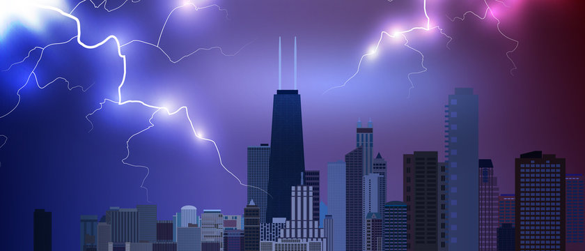 Chicago downtown business and finance area background with skyscrapers on storm background with lightnings. USA urban cityscape. Vector illustration EPS10