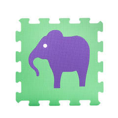 Colourful elephant puzzle. Animal puzzle piece isolated on white background. Animal learning block for children education.