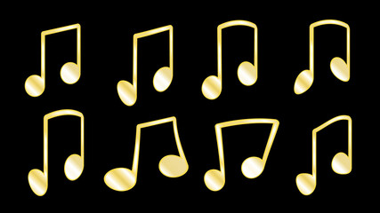 A set of 8 golden yellow ribs or knit, fatty lines that connect the musical notes when grouping notes inside the bars on a black background, a set of musical icons. Vector illustration