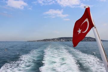 Turkish flag on the sea.