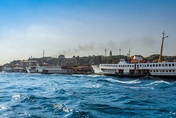 Istanbul, Turkey, 04 July 2007: Ships on Eminonu Port
