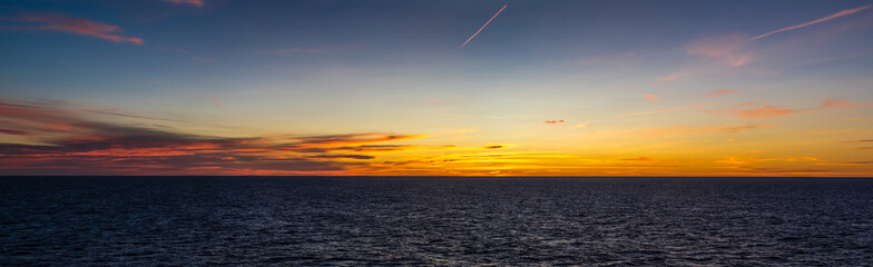 Crossing by ferry at sunrise to Sardinia