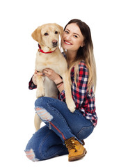 girl and dog labrador on white background