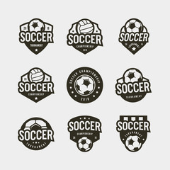 set of football, soccer logos. sport emblems. vector illustration
