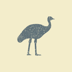 Ostrich icon. Flat vector silhouette