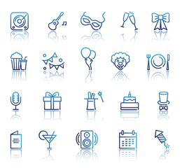 Set of Party Related Vector Line Icons