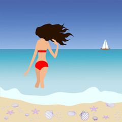 Illustration of brunette woman standing at tropic seashore and looking at the yacht on skyline.