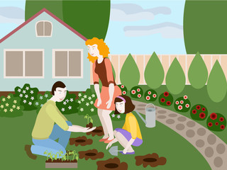 Illustration of father, mother and daughter planting flowers together in the yard. Objects grouped, groups named in English. No mesh and transparency used.