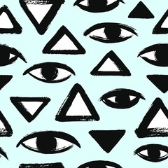 Brush drawn eyes and triangles, pyramid seamless repeat vector pattern. Rough edges. Hand drawn surreal black and white geometrical background. Stylized hand drawn eyes, eyeballs texture.