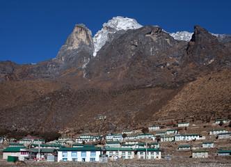 Mount Khumbila and Khumjung village in Sagarmatha National Park, Nepal Himalaya