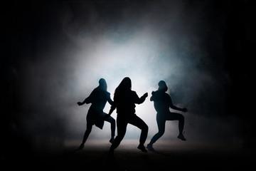 group of girls dancing at night club. enjoy dancing, earning money.spending time.