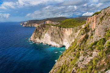 Awesome landscape of Cape Keri on Greek island Zakynthos in the Ionian Sea.