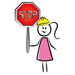Frau mit Stoppschild