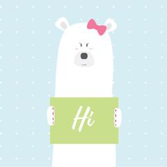 Polar bear girl Hi vector card illustration on a dotted pattern background