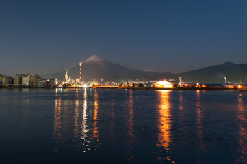 Wonderful view of Mount Fuji with city lights.