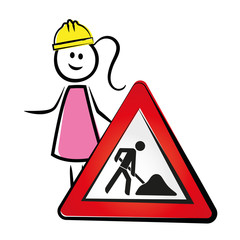 Frau mit Baustellenschild