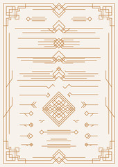 Vector art deco and arabic line design elements brown color isolated on background for menu, pattern, textile, poster, promotion, decoration wedding invitation, greeting card.