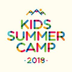 Kids summer camp 2018 banner for holiday party, kids camping, fest. Vector Illustration 10 eps