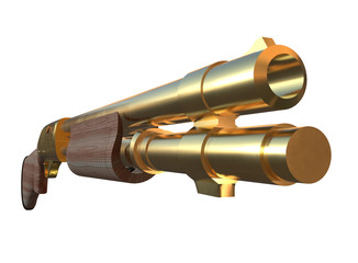 Gold shotgun rifle hunting carbine 3d render isolated on white background