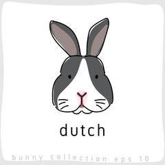 Dutch Rabbit : Rabbit Breed Collection : Vector Illustration