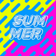Summer poster colorfull style modern typography on yellow pink background for banner sale, party, decoration, card, promotion. Vector Illustration 10 eps