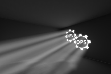 DevOps rays volume light concept 3d illustration