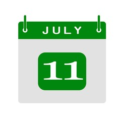 Calendar flat icon 11th of July. Vector illustration.