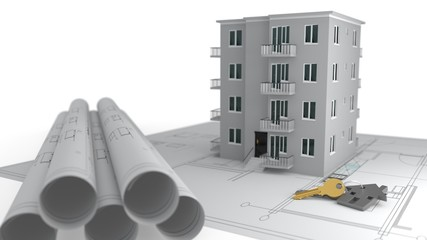 Construction project advertising concept, 3d rendering