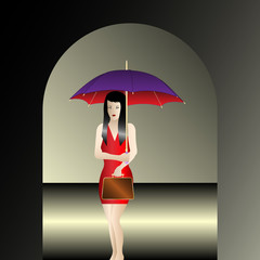 girl with umbrella under the arch