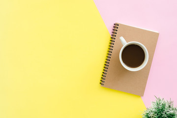 Creative flat lay photo of workspace desk. Top view office desk with notebooks, plant, coffee cup and copy space on pastel color background. Top view with copy space, flat lay photography.
