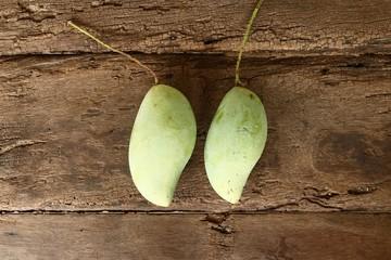Bunch of green and ripe orange mango