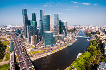 Aerial panoramic view of Moscow in summer, Russia