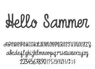 Latin alphabet Hello Summer. Font handwriting with upper and lowercase characters, numbers and symbols. Modern script of monolines.