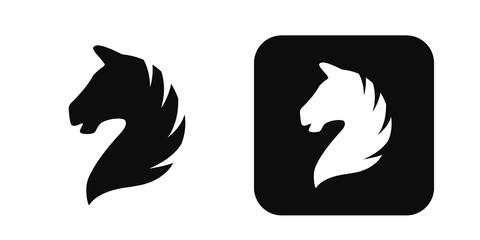 Horse head vector icon isolated on white. Horse head logo. Horse head silhouette