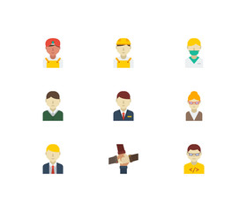 Occupation icons set. Hotel receptionist and occupation icons with teamwork, indian worker and white worker. Set of corporate for web app logo UI design.