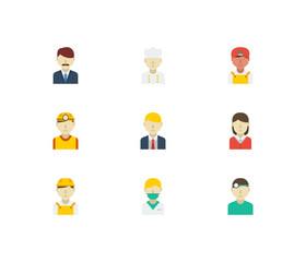Professional icons set. Indian worker and professional icons with dentist, office boss and white worker. Set of corporate for web app logo UI design.