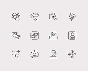 Review and customer service icon line set with retail, value and face. Set of customer service icons including discussion for web app logo UI design.