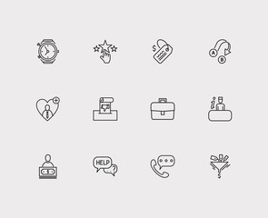 Customer service icons set. Export and customer service icons with business, clock and loyalty. Set of elements including businessman for web app logo UI design.