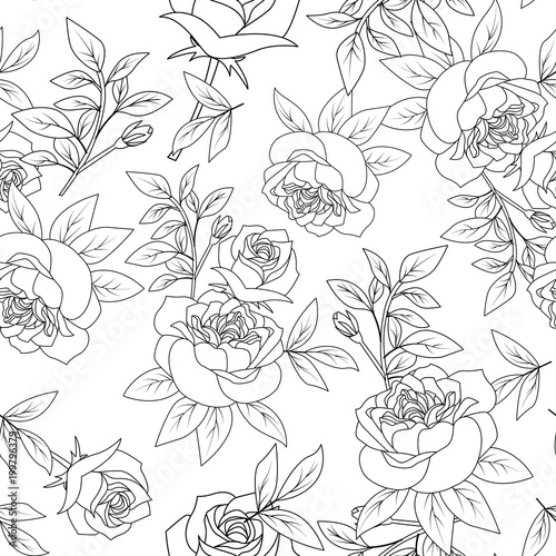 Seamless Pattern Black And White Rose Vintage Flower Style Vector Illustration
