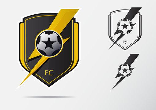 Soccer or Football Badge Logo Design for football team. Minimal design of golden thunderbolt and black and white soccer ball. Football club logo in lightning black and white icon. Vector Illustration.
