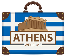 Vector travel banner with suitcase in colors of greek flag with the Acropolis and inscription Athens welcome