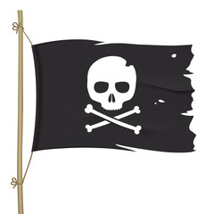 Torn pirate flag with white skull icon. Waving black vector flag with crossbones emblem.