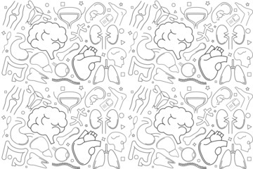 Vector anatomy pattern. Anatomy seamless background