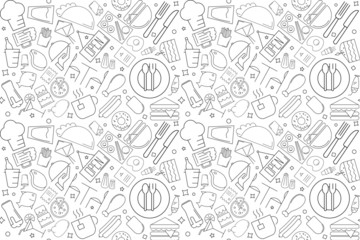 Vector cafe pattern. Cafe seamless background
