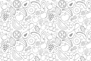 Vector fruit pattern. Fruit seamless background